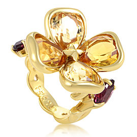 Chanel 18K Yellow Gold Citrine & Rhodolite Garnet Flower Ring Sz 5.5