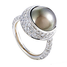 Chanel 18K White Gold Diamond & Black Tahitian Simulated Glass Pearl Ring