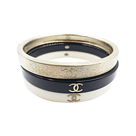 Chanel Gold Black Ivory 3 Stackable Bangle Bracelet