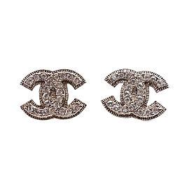 Chanel Silver Tone Metal CC Blink Rhinestone Piercing Earrings