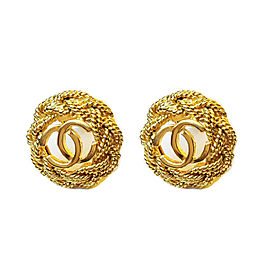 Chanel Gold-Tone Wired CC Vintage Earrings