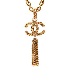 Chanel CC Logo Gold Tone Metal Fringe Necklace