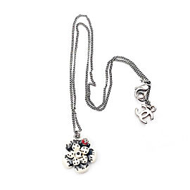 Chanel Rare Ivory Black Polka Dot Flower Beetle Gunmetal Chain Necklace