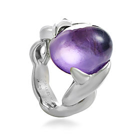 Chanel 18K White Gold Amethyst Cabochon Ring