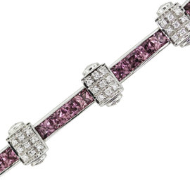 Charriol Flamme Blanche 18K White Gold & Pink Sapphire and Diamond Bracelet