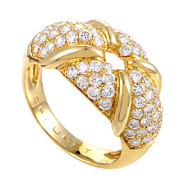 Chaumet 18K Yellow Gold Diamond Pave Ring Size 7.75