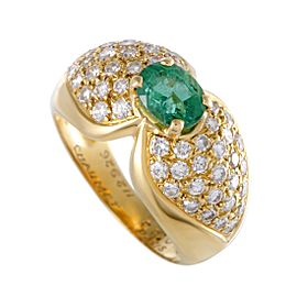 Chaumet 18K Yellow Gold 0.99ct Emerald & Diamond Solitaire Ring Size 8