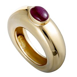 Chaumet 18K Yellow Gold Ruby Cabochon Band Ring Size 4.5