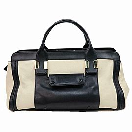 Chloé Duffle Bicolor Boston 870654 Black Leather Weekend/Travel Bag