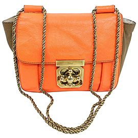 Chloé Elsie Bicolor Colorblock Chain Flap 870758 Orange Leather Shoulder Bag