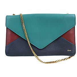 Chloé Flap Tricolor Chain Envelope 871267 Green Leather Cross Body Bag