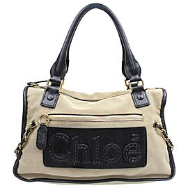 Chloé Chloé Duffle Logo Boston 868763 Beige Canvas Satchel