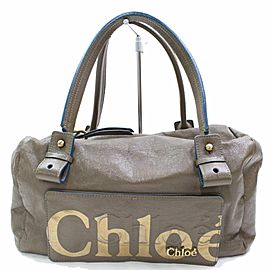 Chloé Logo Eclipse Boston 867213 Taupe/Brown Patent Leather Shoulder Bag