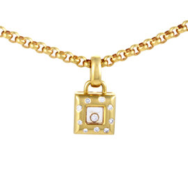 Chopard 18K Yellow Gold Happy Diamonds Square Pendant Necklace