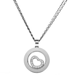 Chopard Happy Spirit White Gold Floating Diamond Heart Pendant Necklace