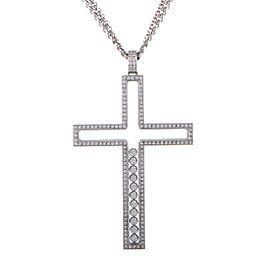 Chopard Happy Diamonds 18K White Gold Diamonds Large Cross Pendant Necklace