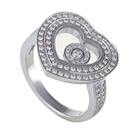 Chopard Happy Diamonds Womens 18K White Gold Full Diamond Pave Heart Ring