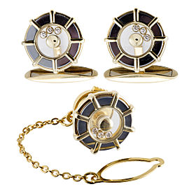 Chopard Happy Diamonds 18K Yellow Gold with Diamond Cufflinks and Tie Tag Set