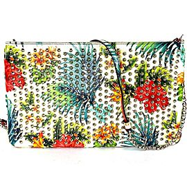 Christian Louboutin Clutch Loubiposh Floral Mosaic 10loub528 Multicolor White Leather Cross Body Bag