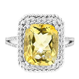 14K White Gold Citrine and Pave Diamond Ring