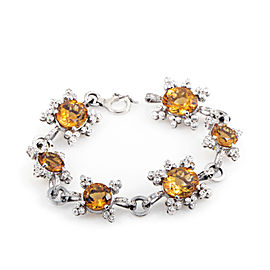 Citra 18K White Gold Diamond & Citrine Bracelet