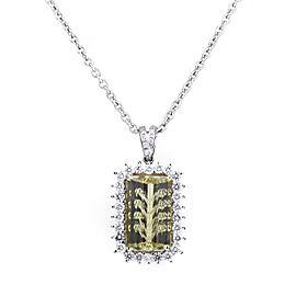 Citra 18K White Gold Diamond & Lemon Quartz Pendant Necklace