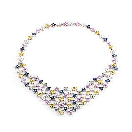 Citra 18K White Gold Diamond & Multi-Sapphire Bib Necklace