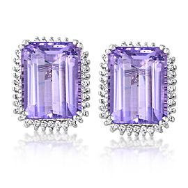 Citra 14K White Gold Diamond & Amethyst Stud Earring