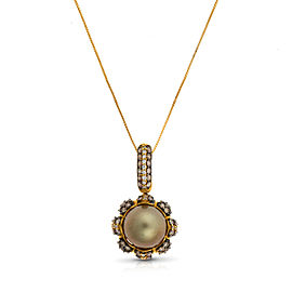 Le Vian Certified Pre-Owned Chocolate Pearl and Chocolate & Vanilla Diamonds Pendant set in 18k Honey Gold