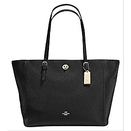 Coach Turnlock Chain Tote 8coe0108 Black Leather Shoulder Bag