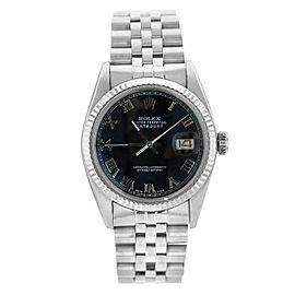 Rolex Men's Datejust Stainless Steel Black Roman Dial