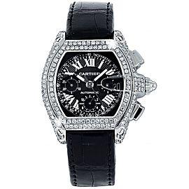 Cartier Roadster XL W62020X6 Chronograph Custom Diamond Watch on Leather Strap