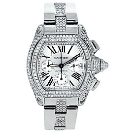 Cartier Roadster Chronograph White Dial Custom Diamond Steel Watch W62019X6