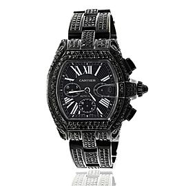 Cartier Roadster XL W62020X6 Chronograph Stainless Steel Black PVD Custom Diamond Watch