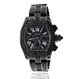 Cartier Roadster XL W62020X6 Chronograph Stainless Steel Black PVD Custom Diamond Watch