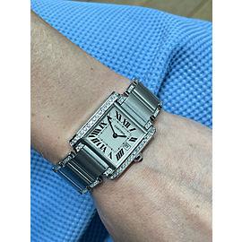 Cartier Tank Francaise Ladies Medium Model Custom Diamonds Steel Watch