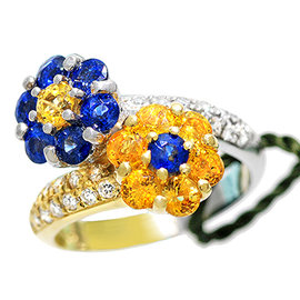 Gregg Ruth 18K White and Yellow Gold Yellow and Blue Sapphire and Diamond Ring Size 6.5