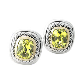 "David Yurman Sterling Silver & 14K Yellow Gold Peridot ""Albion"" Earrings"