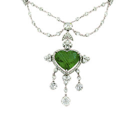Van Cleef & Arpels 18K White Gold with 7.00ct Emerald & 3.10ct Diamond Necklace