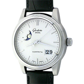 "Glashütte ""Senator"" Date/Moonphase Stainless Steel Mens Strap Watch"