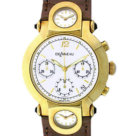 DeLeneau 3 Time Zone Chronograph 18K Yellow Gold Strap Watch