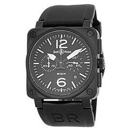 "Bell & Ross ""BR03-94"" Stainless Steel Carbon Finish Chronograph Mens Strap Watch"