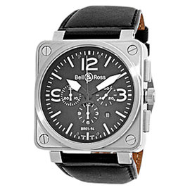 "Bell & Ross ""BR01-94"" Stainless Steel Chronograph Mens Strap Watch"