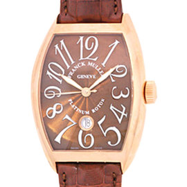 "Franck Muller ""Cintree Curvex"" 18K Rose Gold Mens Strap Watch"