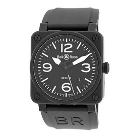 "Bell & Ross ""BR03-92"" Aviation Type Stainless Steel & Carbon Finish Mens Strap Watch"