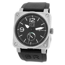 "Bell & Ross ""BR03-90"" Big Date Power Reserve Stainless Steel Mens Strap Watch"