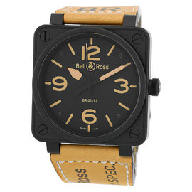 "Bell & Ross ""BR01-92 Heritage"" Black Carbon Finish Stainless Steel Mens Strap Watch"