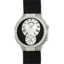 "Philip Stein ""Teslar"" Dual Time Stainless Steel Diamond Strap Watch"