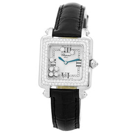 "Chopard Diamond ""Happy Sport"" 18K White Gold Watch"