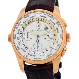 "Girard Perregaux ""World Timer"" Chronograph 18K Rose Gold Strapwatch"